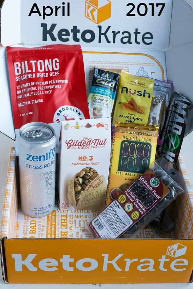 Keto Krate is a popular low carb subscription box that delivers keto snacks to your door. Check out the items that were featured in the April 2017 box. | LowCarbYum.com
