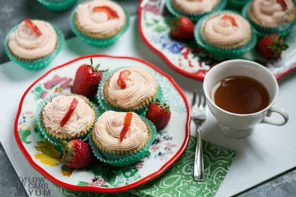 Low carb cupcakes with strawberry cream cheese frosting plate