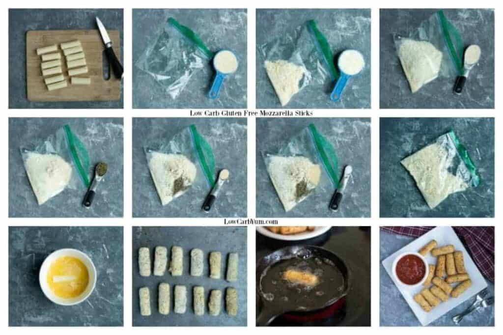Low carb gluten free mozzarella sticks recipe preparation
