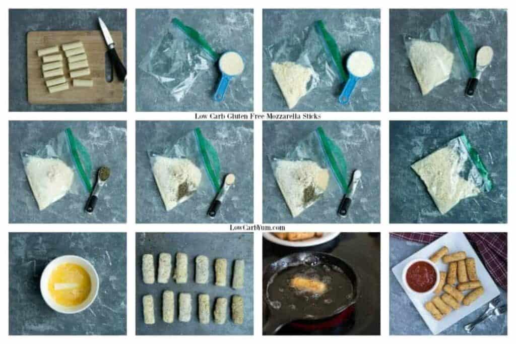 Low carb gluten free mozzarella sticks recipe preparation