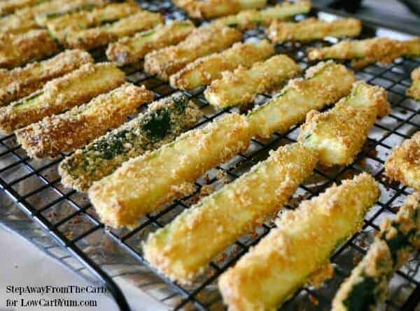 Low carb zucchini fries on baking rack