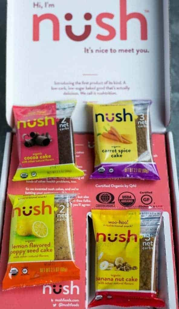 Nush low carb snack cakes in box