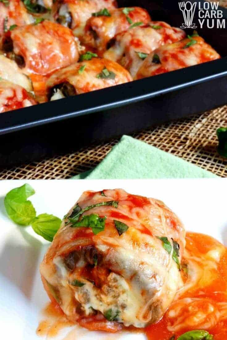 stuffed eggplant rolls wrapped in bacon tall