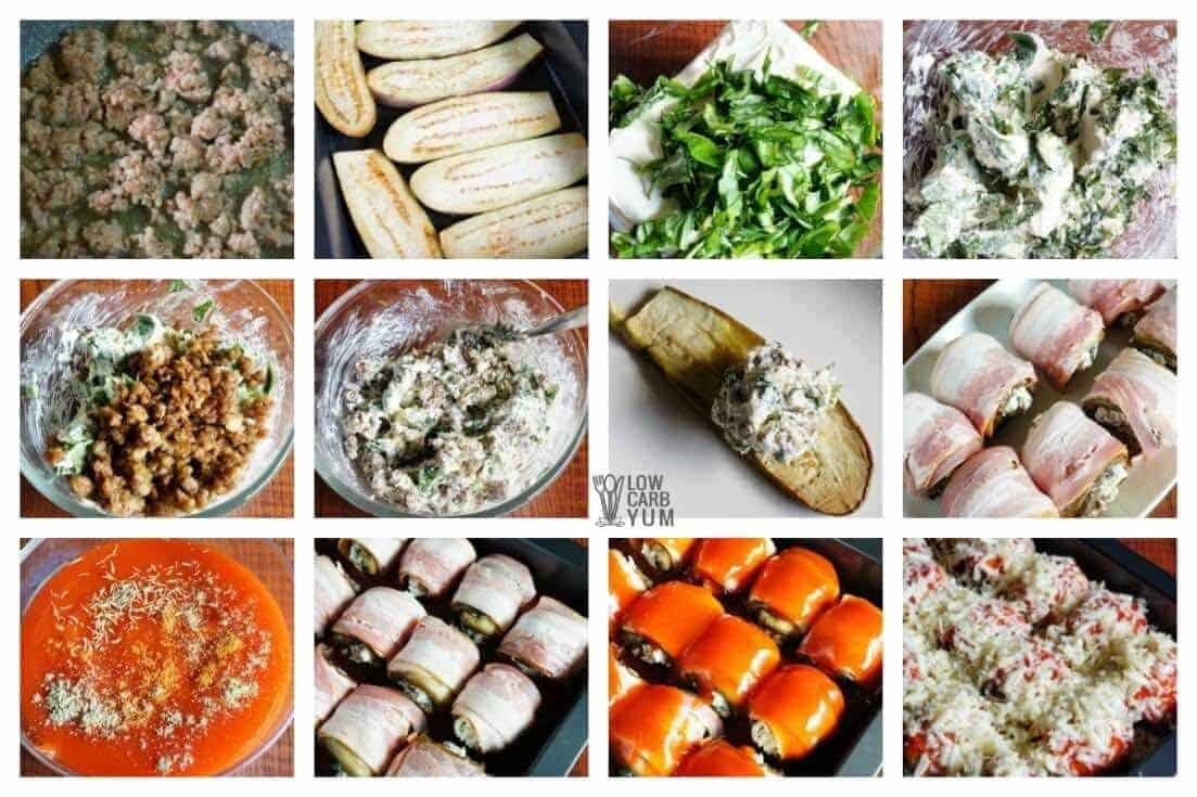 stuffed eggplant rolls wrapped in bacon collage
