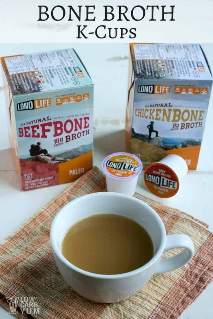 Did you know that you can get all natural paleo bone broth K-Cups? It's a fantastic way to make a hot cup of broth at home, work, or on the road. | LowCarbYum.com