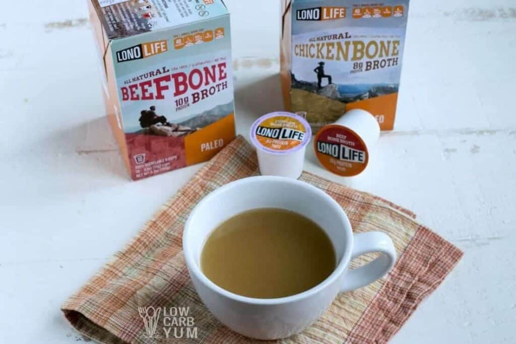 LonoLife bone broth k-cups in cup