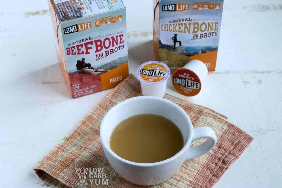 LonoLife bone broth k-cups in cup