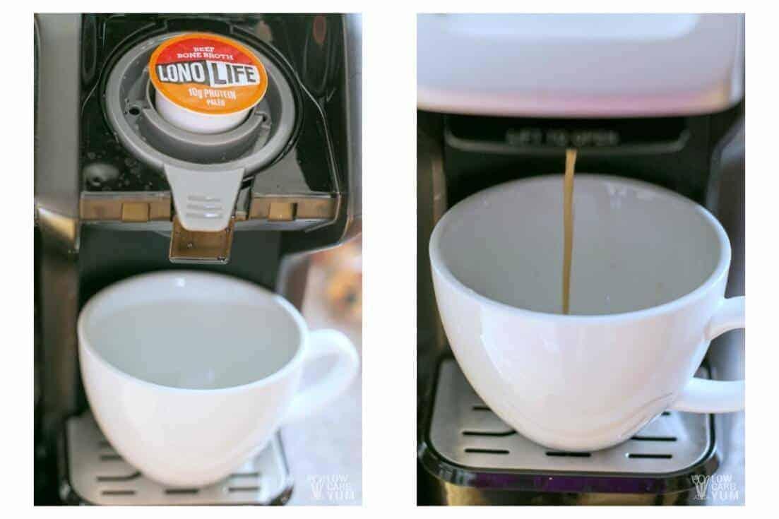 LonoLife bone broth k-cups brewing