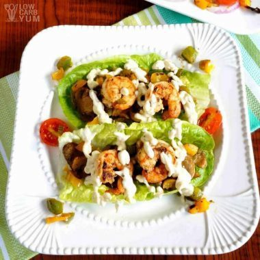 Simple Cajun cream sauce over shrimp lettuce wraps