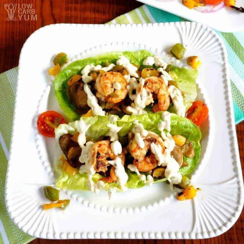 Simple Cajun cream sauce over shrimp lettuce wraps