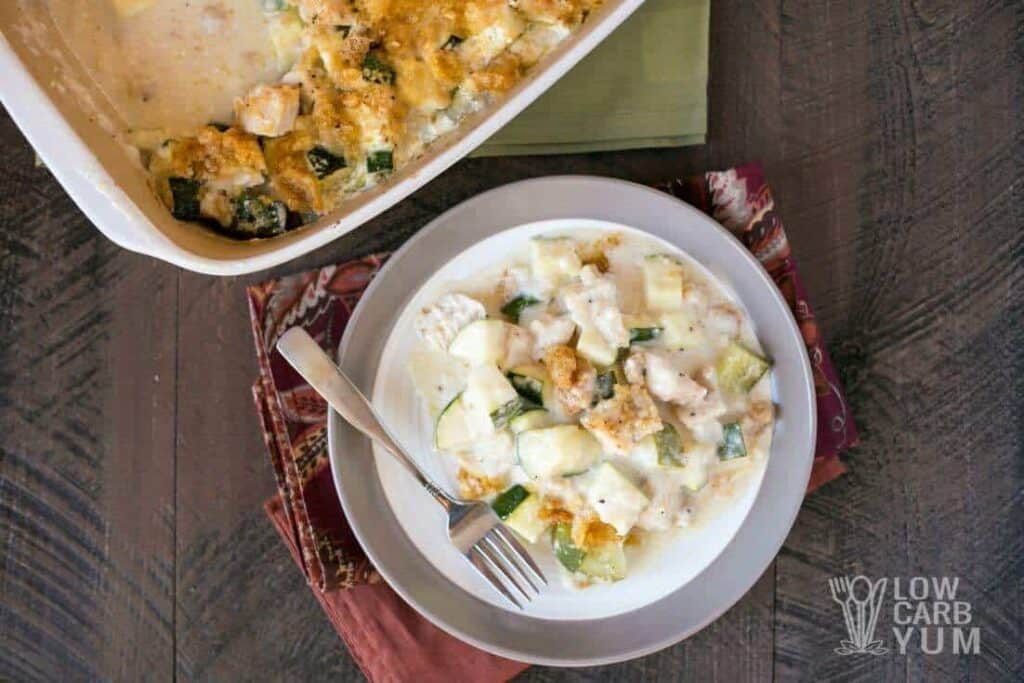 Chicken and zucchini casserole on plate