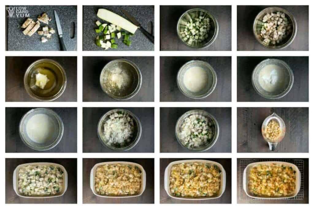Chicken and zucchini casserole prep collage