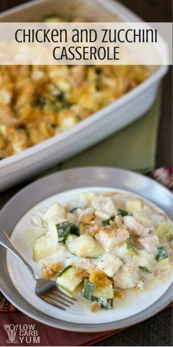 An easy low carb chicken and zucchini casserole recipe that's gluten free and keto friendly. Using pre-cooked chicken, it's a cinch to make.   LowCarbYum.com