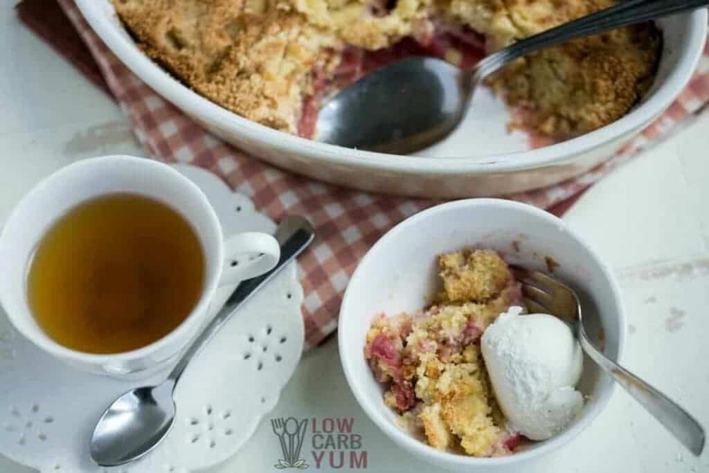 Low carb gluten free rhubarb crumble with ice cream