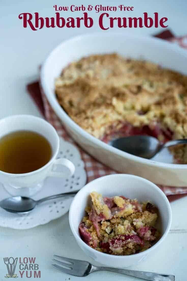 Low carb gluten free rhubarb crumble cover