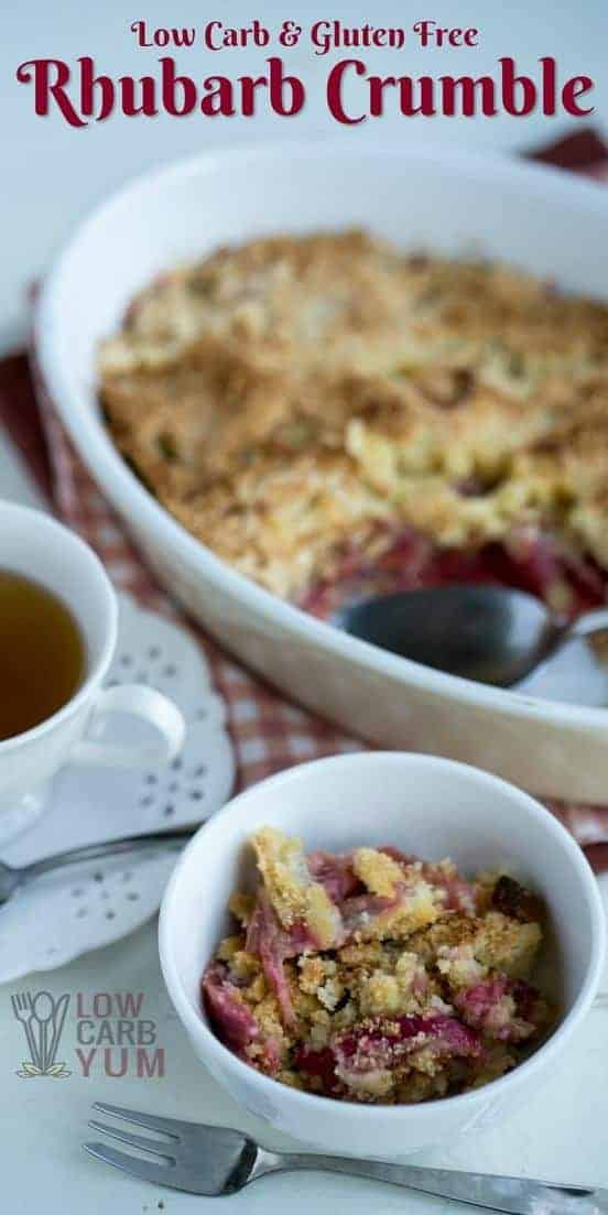 Low carb gluten free rhubarb crumble pin