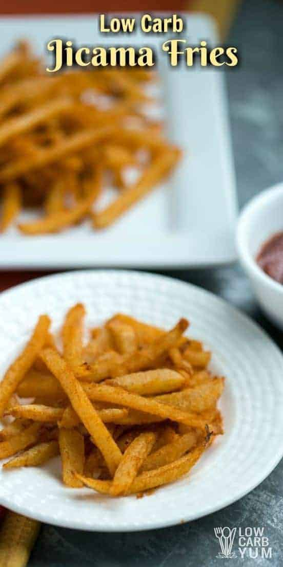 Is there such a thing as low carb French fries? Jicama fries are about as close as you can get. Here's the basics on how to make them. | LowCarbYum.com