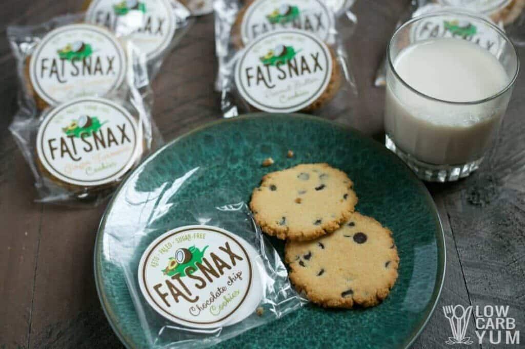 Paleo keto Fat Snax cookies - chocolate chip