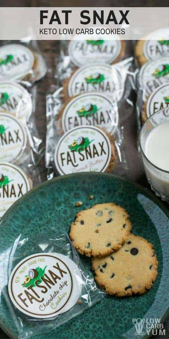 Still in search of the perfect keto snack? Check out the paleo low carb Fat Snax cookies. Each sugar free cookie has 2 grams net carbs or less. | LowCarbYum.com