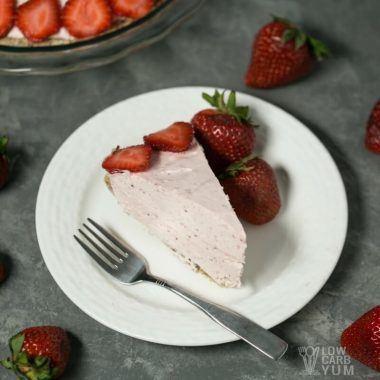Gluten free low carb strawberry mousse pie slice