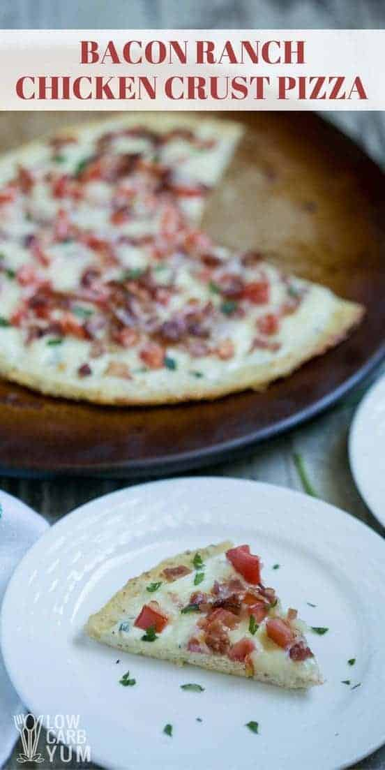 A tasty low carb gluten free bacon ranch chicken crust pizza that's super simple to make. It uses a near zero carb pizza crust made from ground meat. | LowCarbYum.com