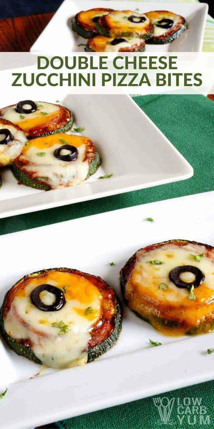 It's so easy to make a low carb pizza using vegetables. Just take a look at these simple zucchini pizza bites with double cheese. | LowCarbYum.com