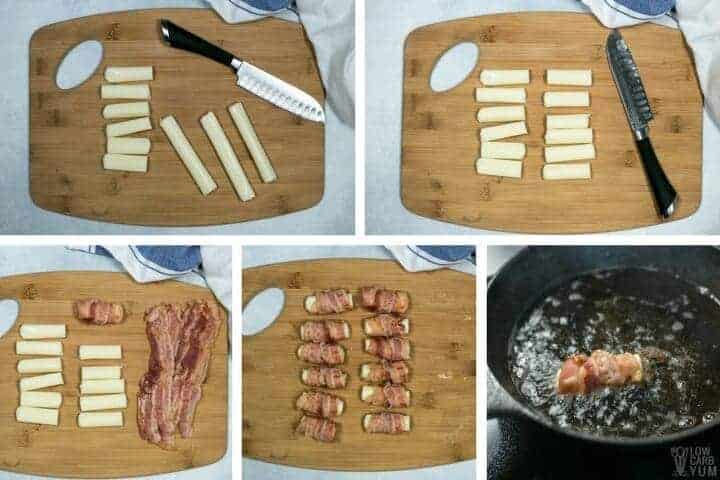 Bacon wrapped cheese sticks recipe