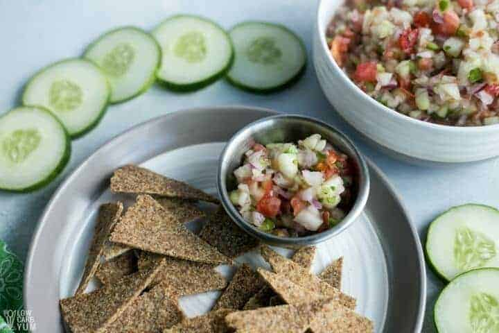 Cucumber salsa with low carb tortilla chips
