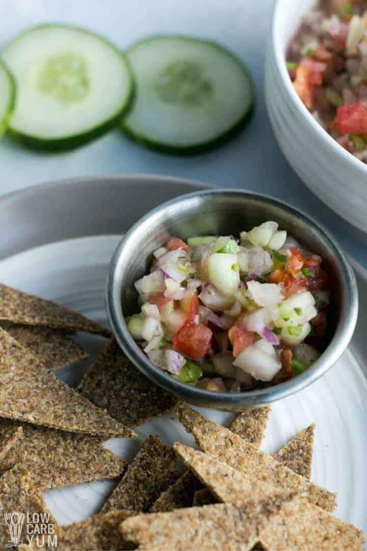 cucumber salsa with low carb chips