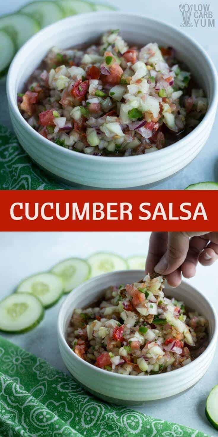 By reducing the amount of tomatoes, this cucumber salsa recipe has about half the carbs as the red kind. It's perfect for any low carb keto diet.
