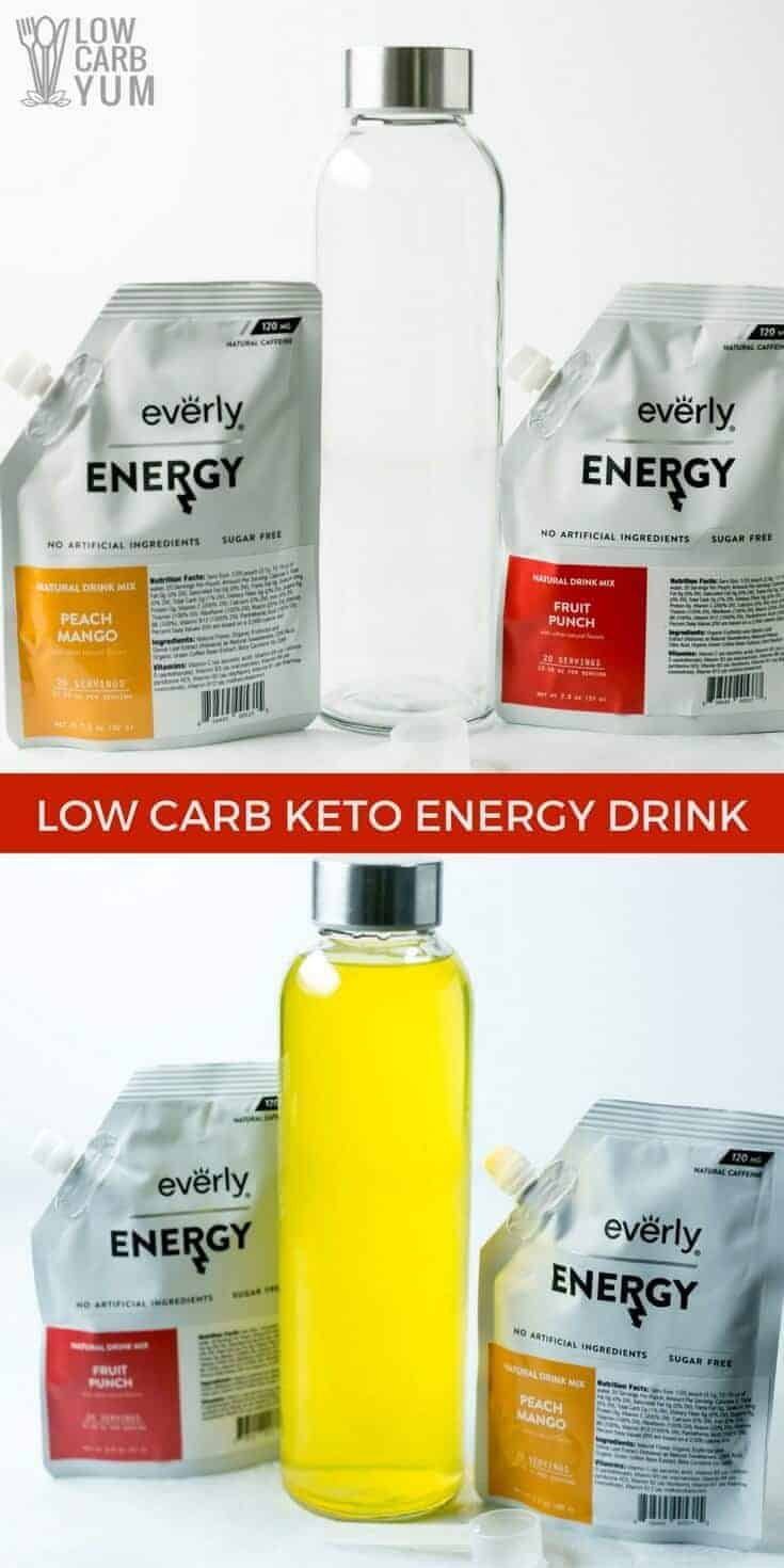 The Everly low carb energy drink mixes a are a delicious way to get a caffeine boost during the day. They are cool and refreshing with no sugar added. | LowCarbYum.com