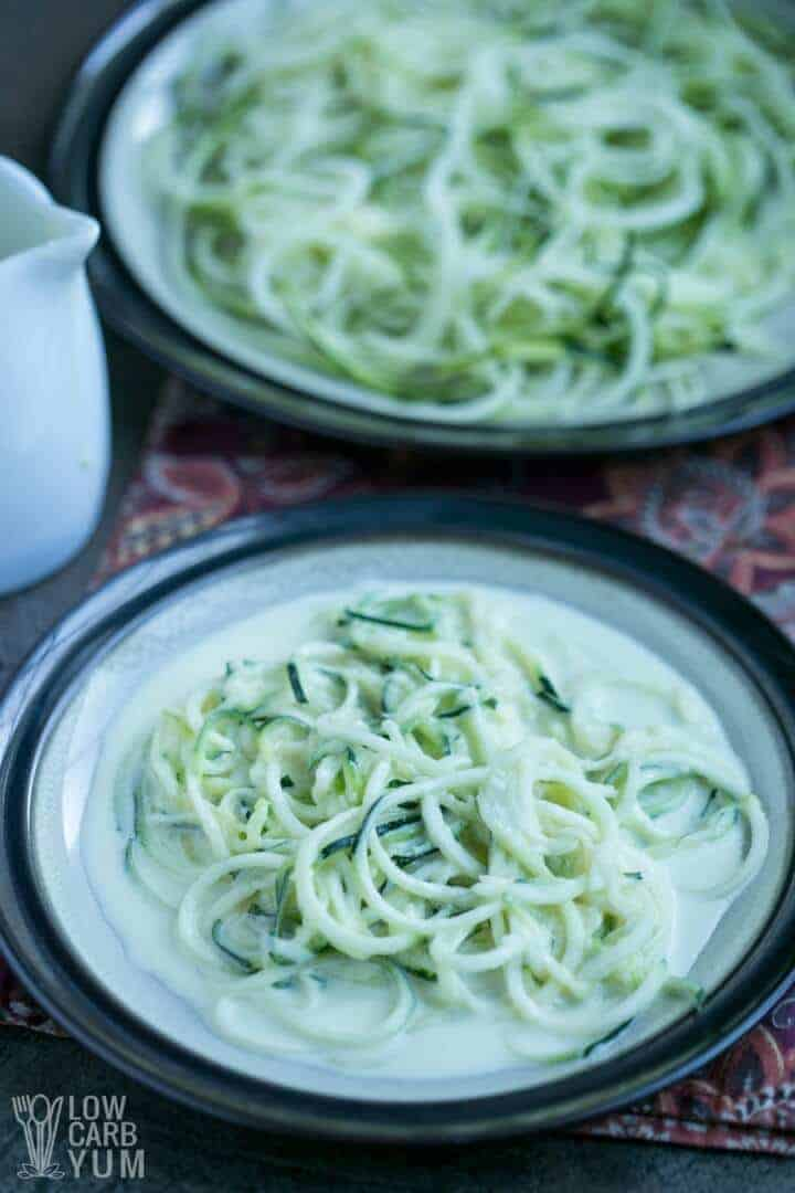 Simple low carb Alfredo sauce over zucchini noodles