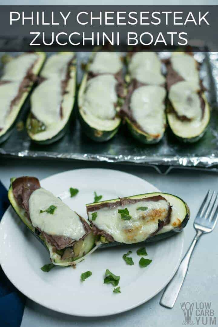 Philly steak with cheese zucchini boats
