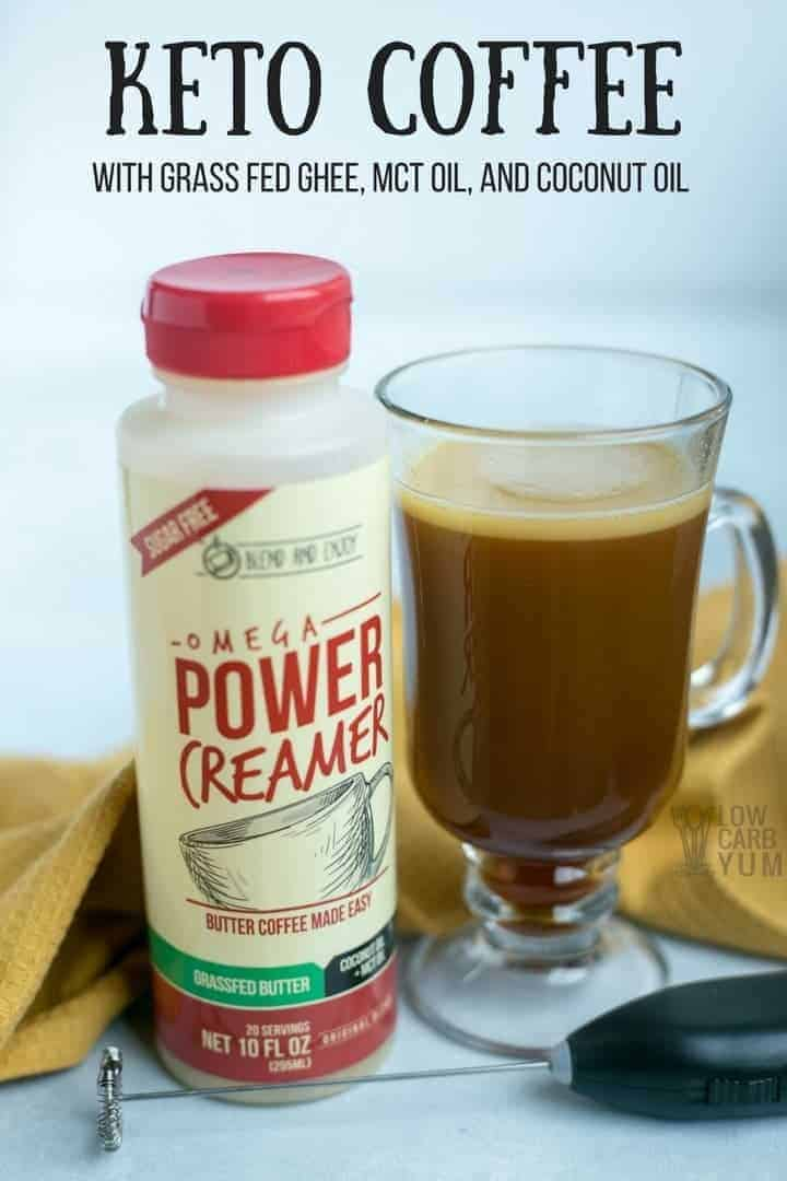 Learn how to make a power creamer ketogenic coffee the easy way. With Power Omega Creamer, you simply blend in the pre-made mix of ghee, MCT oil, and coconut oil.