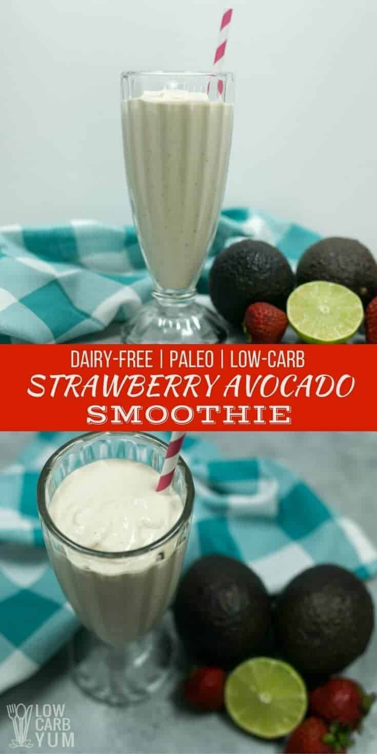 An easy to make strawberry avocado smoothie that's low carb, paleo, and keto friendly. It's also dairy-free but tastes so creamy, you'd never know. | LowCarbYum.com