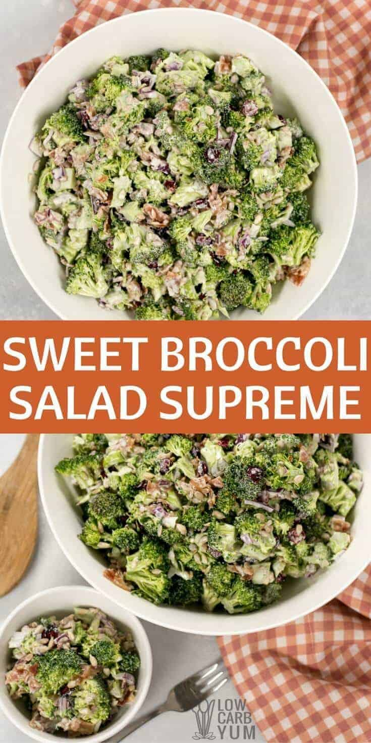 A classic sweet broccoli salad with crispy bacon and chewy unsweetened dried cranberries. It's low carb and paleo friendly with no added sugar. | LowCarbYum.com