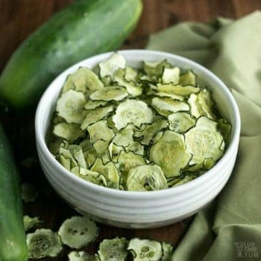 Baked Cucumber Chips with Salt & Vinegar Flavor