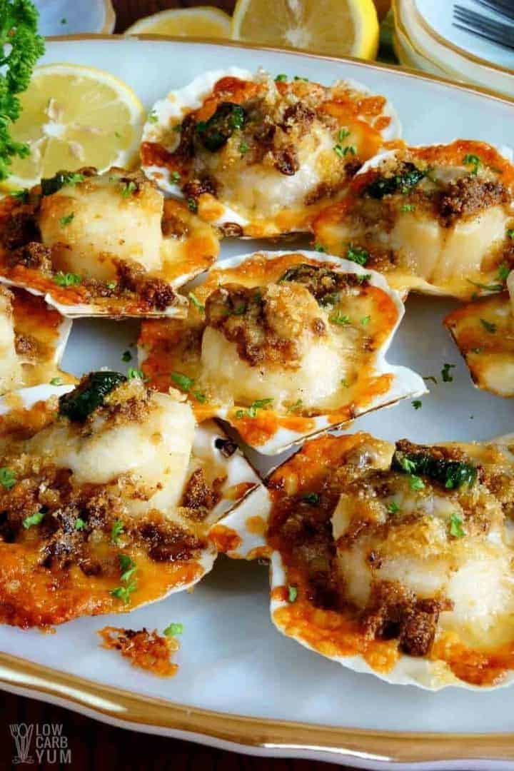Low carb gluten free baked sea scallops recipe