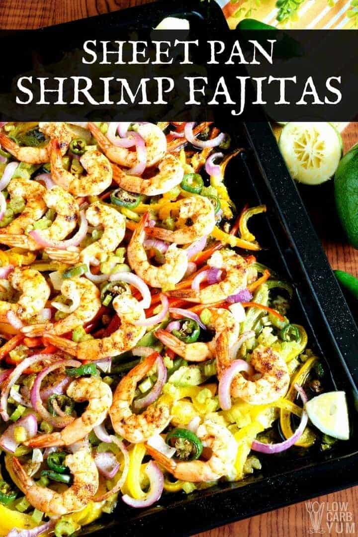 Sheet pan low carb fajitas recipe with shrimp