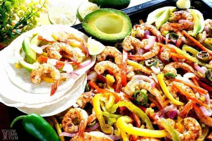 Keto sheet pan low carb fajitas with shrimp recipe