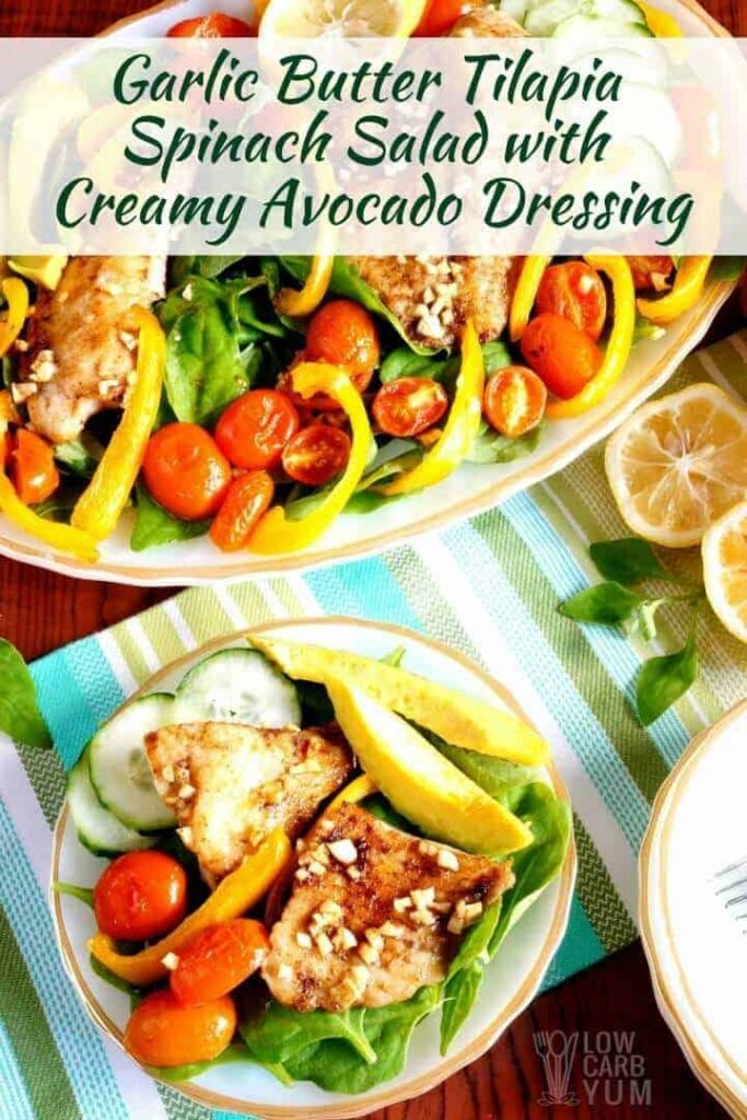 Tilapia salad recipe with creamy avocado dressing