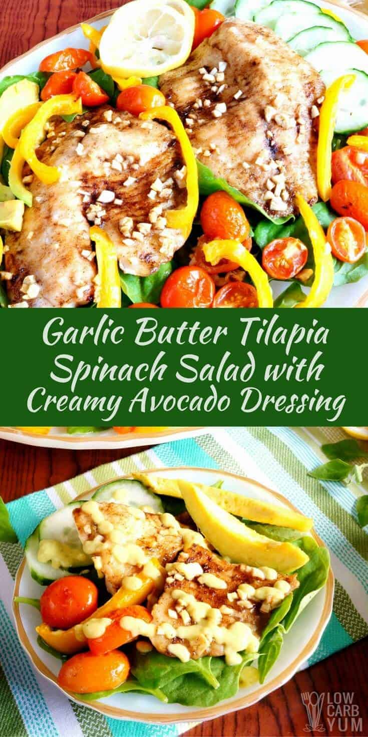 A garlic butter spinach tilapia salad served with creamy avocado dressing. It's an amazing flavor combination that's low carb and keto friendly! | LowCarbYum.com