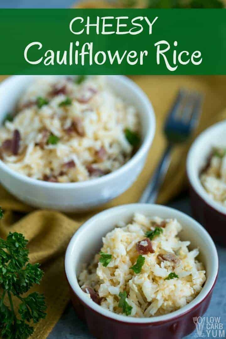 Quick and easy cheesy cauliflower rice