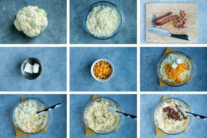 How to make cheesy cauliflower rice in the microwave