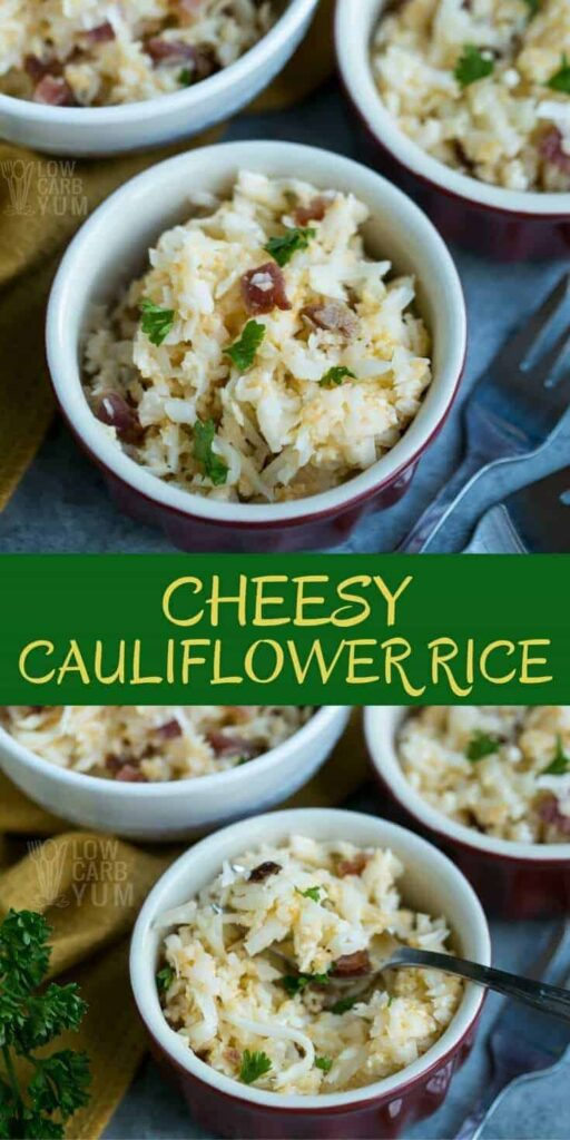 Only five simple ingredients and less than ten minutes are needed to whip up a delicious cheesy cauliflower rice. It makes a perfect keto meal. | LowCarbYum.com