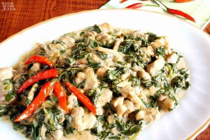 Low carb paleo coconut creamed spinach with pork crackling