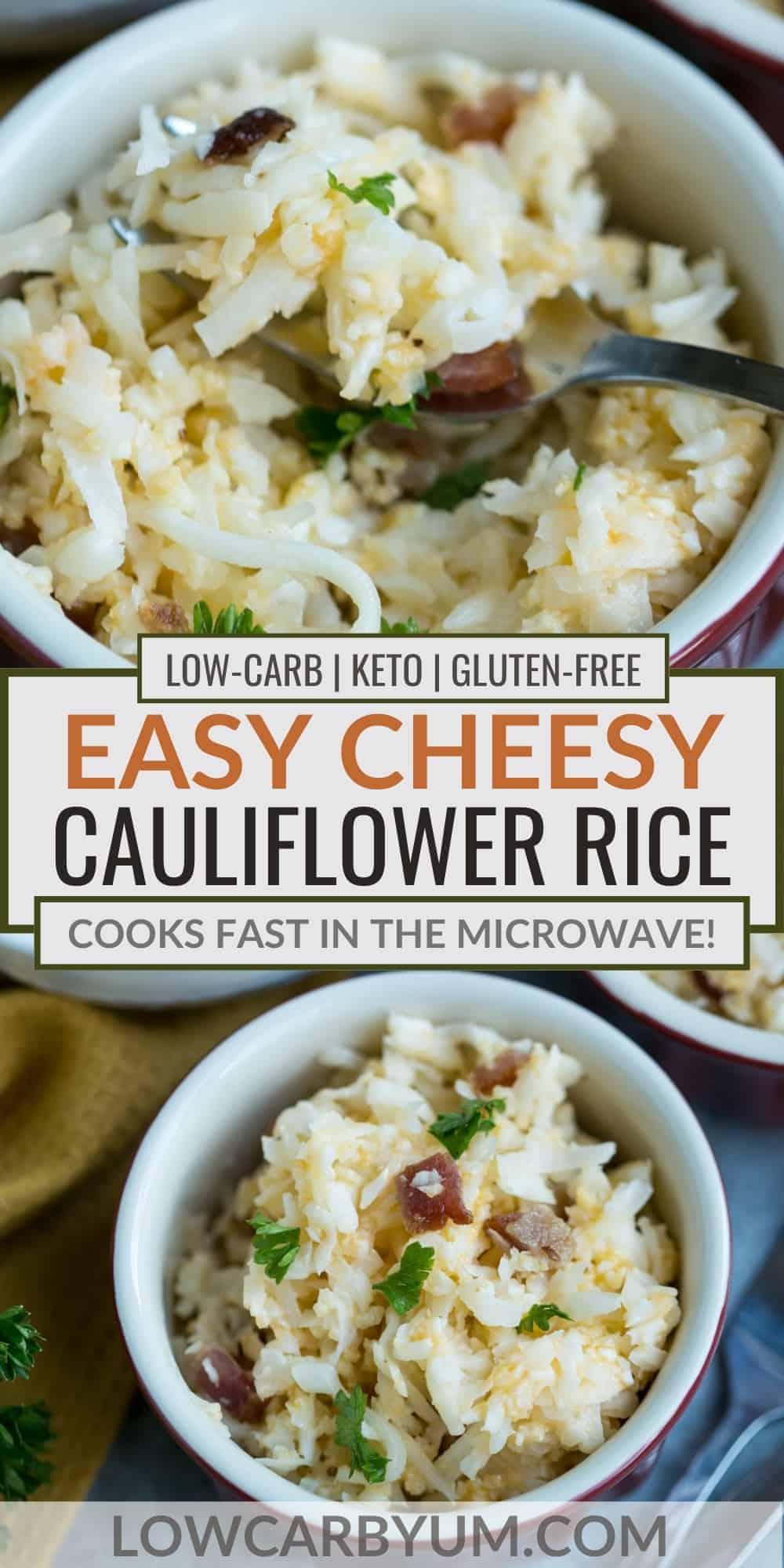 easy cheesy cauliflower rice pinterest image