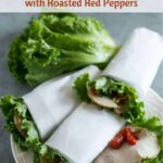 Low carb lettuce wraps with turkey and roasted peppers