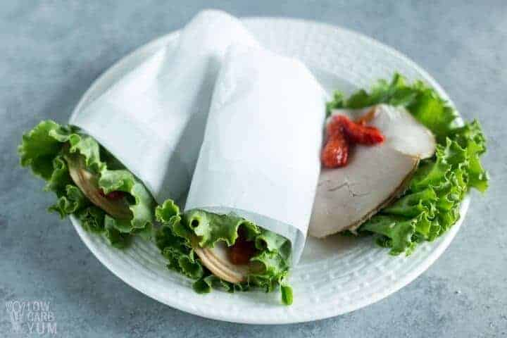 Easy low carb lettuce wraps with turkey and roasted red peppers