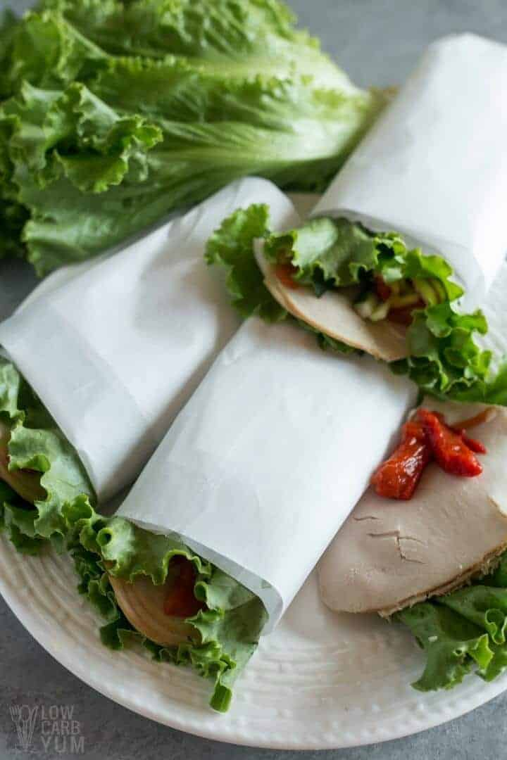Simple low carb lettuce wraps with turkey